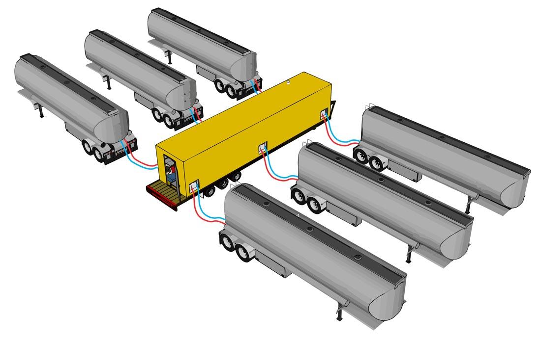 Fleet Heat - Mobile Fleet Heating System - Tanker Trailer Layout Diagram